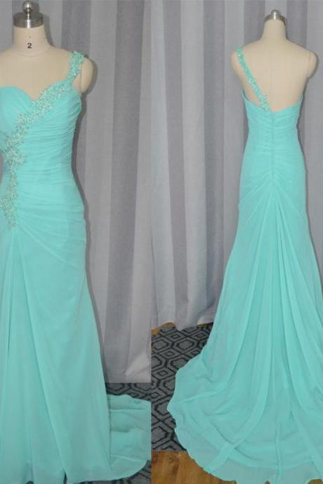 One shoulder prom dresses,chiffon prom dress,appliqued prom dresses,sheath prom dresses,new beaded prom dresses,fashion long prom dress