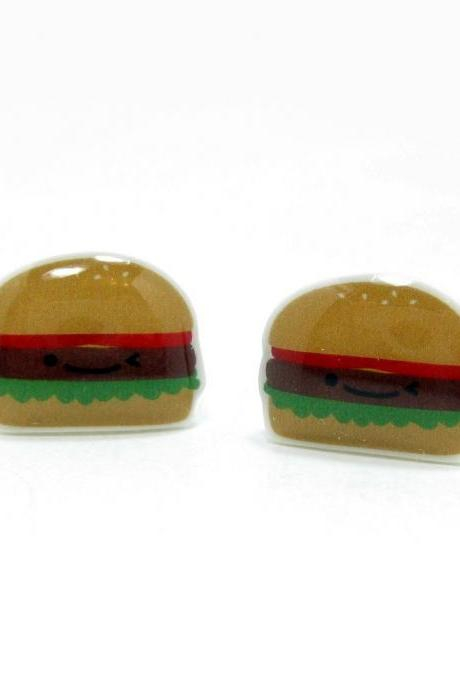 Burger Earrings - Sterling Silver Posts Studs Kawaii Cute