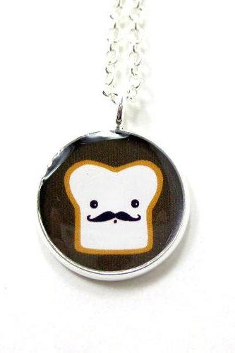 French Toast Necklace - Kawaii Cute Silver Plated 17 inch