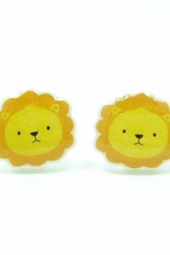 Lion Earrings - Yellow Orange Sterling Silver Posts Studs Kawaii Cute