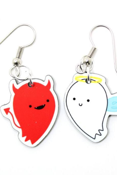 Good vs. Evil Acrylic Charm Earrings on Surgical Steel Hooks