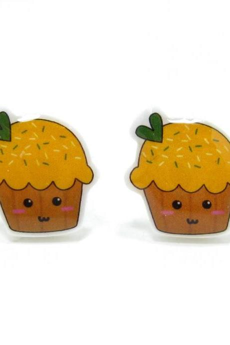 Yellow Cupcake Earrings - Sterling Silver Posts Studs Kawaii Cute