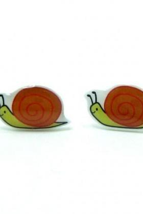 Snail Earrings - Tangerine Orange Sterling Silver Posts Studs Kawaii Cute