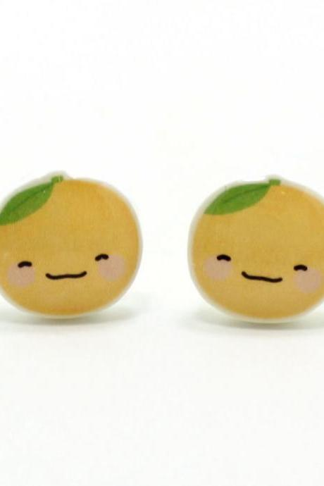 Happy Orange Earrings - Sterling Silver Posts Studs Kawaii Cute