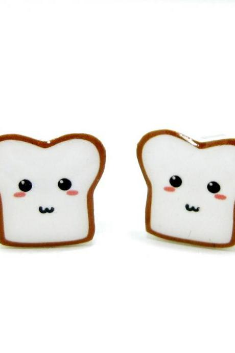 Bread Buddy 2 Toast Earrings - Sterling Silver Posts Studs Kawaii Cute