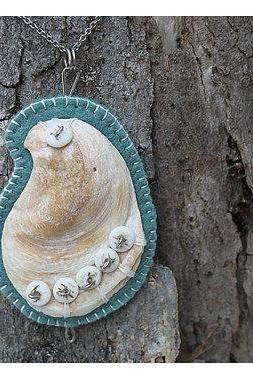 Shell Pendant, Felt and Bone - FREE SHIPPING - Completely Hand Made.