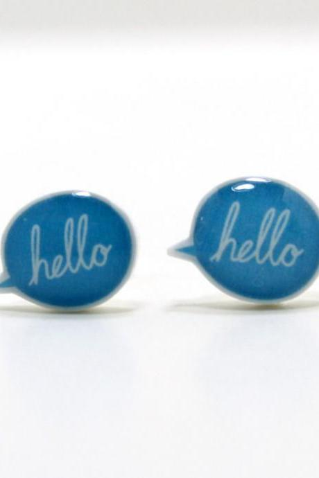 Blue Hello Speech Bubble Earrings - Sterling Silver Posts Studs Kawaii Cute