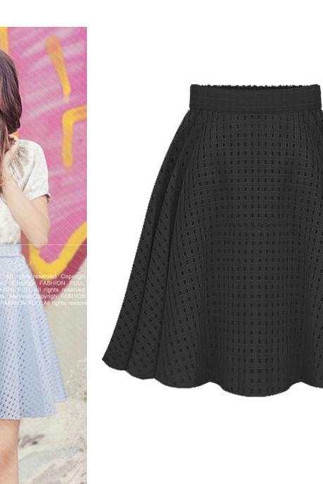 Fashion High Waist Solid Color Zipper Tulle Pleated Plus Size Skirt
