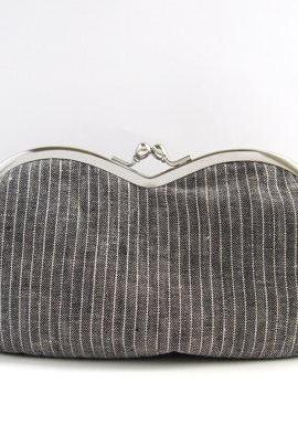 sunglasses case-gray linen-snap case-frame purse