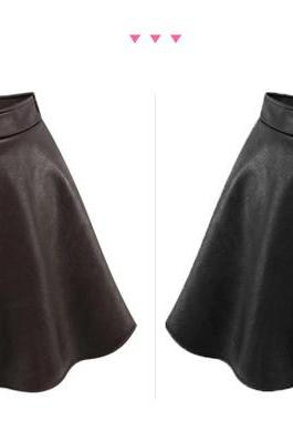 Women Short High Waist Faux Leather Soft PU Plus Size Skirt