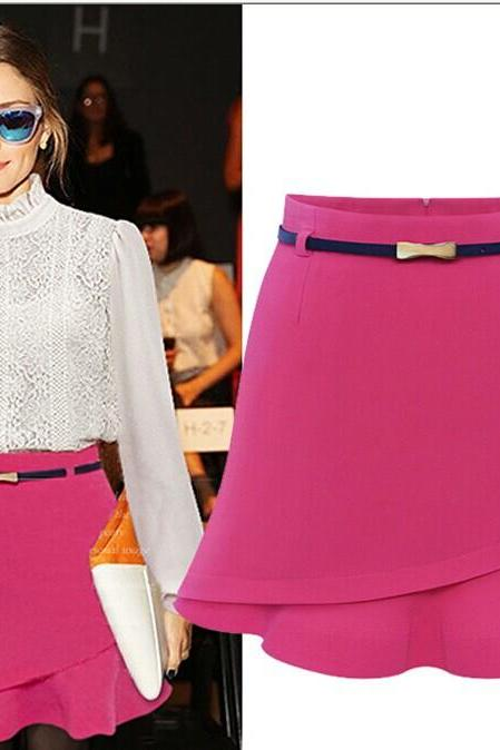 High Waist Asymmetrical Ruffles Chiffon Solid Color Mini Pencil Plus Size Skirt