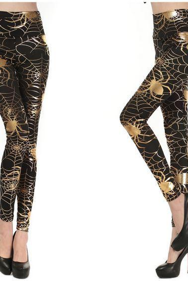 Spider Web Print Tight Leggings
