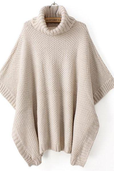 Fashion Cream Bat Sleeve Sweater