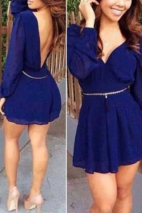 Casual Long Sleeve Backless Mini Dress