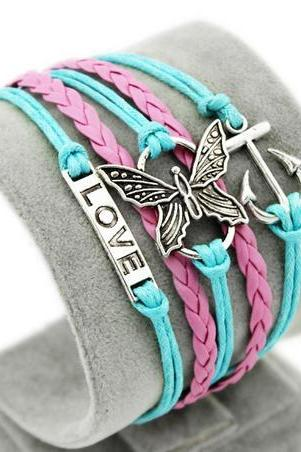 Love Navy Anchor charm bracelet Butterfly Pink braided leather bracelet