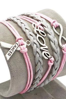 Pink love bracelet charm bracelet cancer grey braided leather bracelet