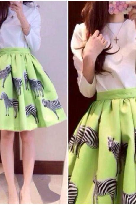 Adorable Zebra Print Retro Skirt