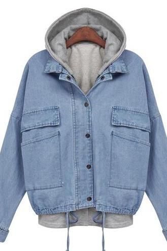 Hooded Drawstring Denim Jacket