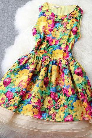 Bright Colors Flowers Print Bodycon Tank Dress Flared Skirt