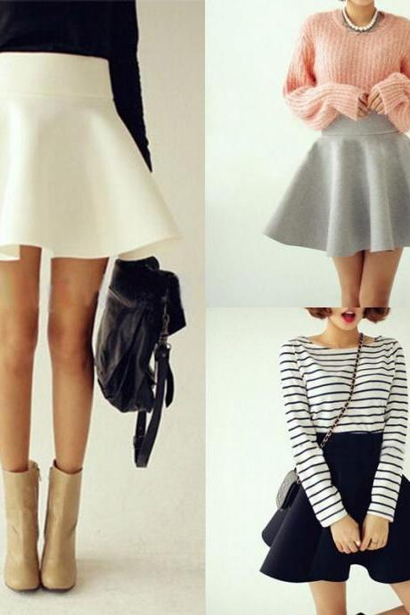 High-Waisted Ruffled Short Skater Skirt