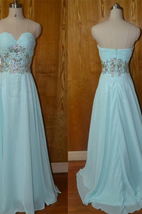 Sweetheart MInt Chiffon Long prom dress,elegant long evening dress.party dresses,elegant Bridesmaid dress