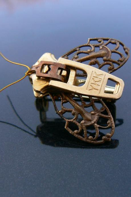 Steampunk Brooch - Zipper Brooch - Moth Brooch