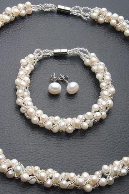 Pearl Necklace Pearl Earrings Pearl Bracelet Jewelry Set Silver Plated