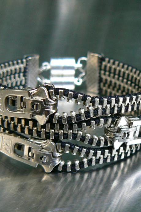 Goth Zipper Bracelet - Steampunk Zipper Bracelet - Nickel Industrial Bracelet