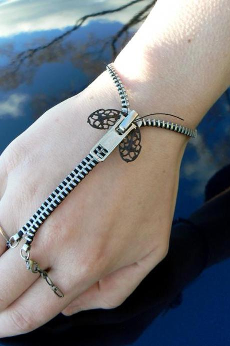 Silver Steampunk Zip-On Bracelet - Zipper Bracelet - Handflower Bracelet