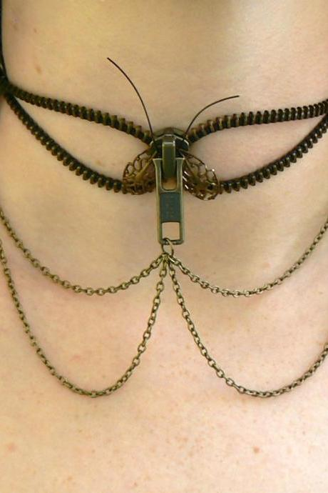 Steampunk Choker Necklace - Zipper Necklace - Moth Choker