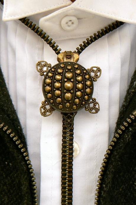 Steampunk Necklace - Zipper Necklace - Pendant Necklace - Bolo Tie - Turtle Necklace