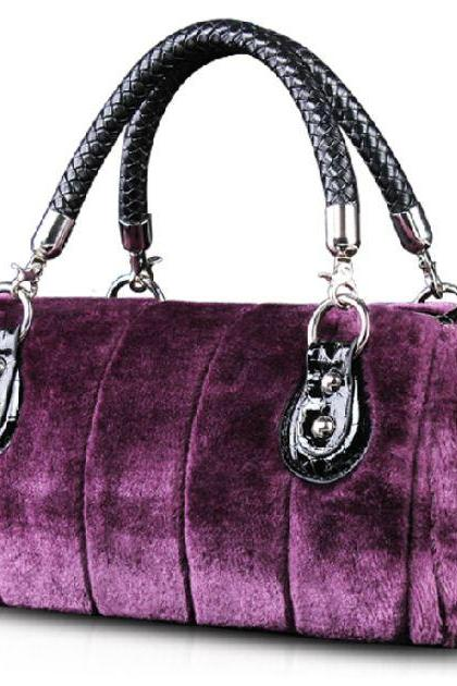 Purple Tote Bags Quality Velour Super Soft Man Made Rabbit Fur Purse Purple High Quality Plum Color Bags