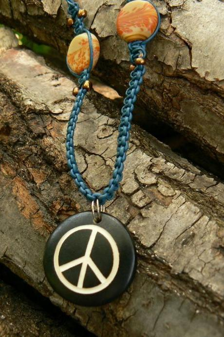 Macrame Necklace - Leather Necklace - Pendant Necklace - Peace Sign Necklace