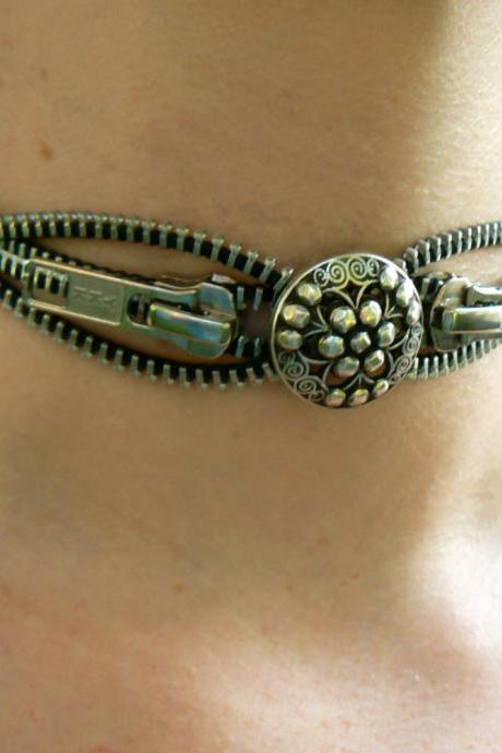 Steampunk Choker Necklace - Zipper Choker Necklace - Industrial Choker Necklace - Silver Button Choker Necklace