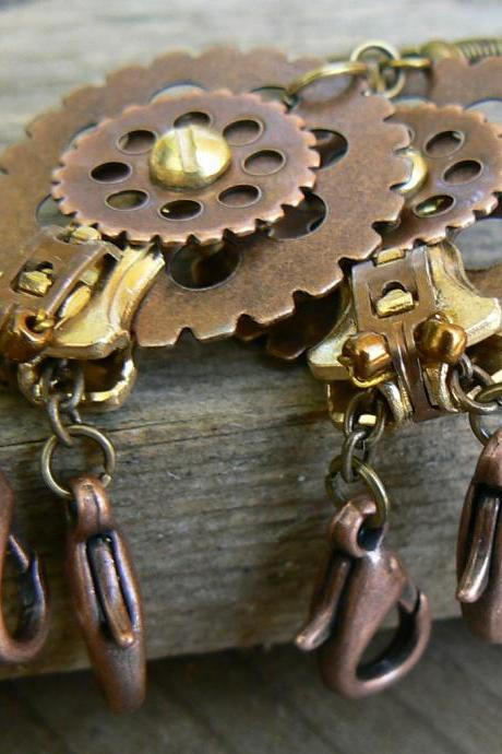 Steampunk Earrings - Zipper Earrings - Dangle Earrings - Hermit Crab Earrings