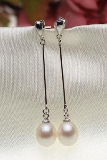 Silver Plated Pearl Earrings Dangling Style Silver Earrings Real Freshwater Earrings