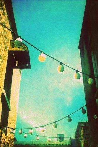 Valley Laneway Photograph 5x5 Whimsical Lights, City Architecture, Brown Buildings, Turquoise, Urban Photography Print