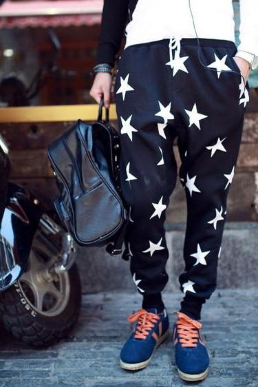 FREE SHIPPING Men Star Print Drawstring Elastic Waistband Casual Sports Baggy Cotton Long Pants