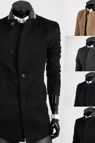 Free Shpping Men Clothing True Size Men's Fall Fashion Slim Fit Single Breated Stand Collar Wool Jacket Coat