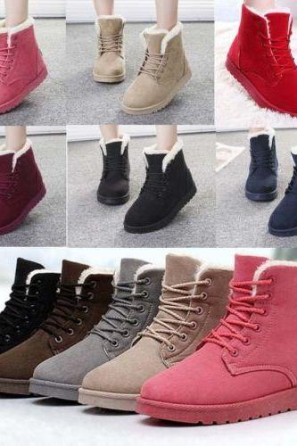 2015 winter Women's Boots Comfort Shoes Flat Lace UP Ankle Winter Warm Snow Boot
