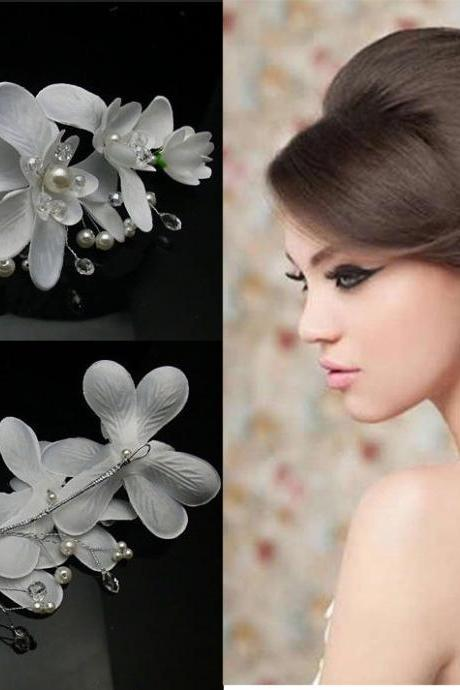 Wedding Jewelry White Orchid Flower Pearls Crystals Beads Bridal Wedding Headpiece Hair Clip