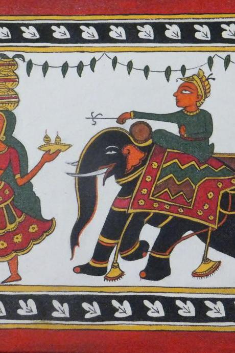 Traditional Indian Art in Acrylic stretched on Canvas