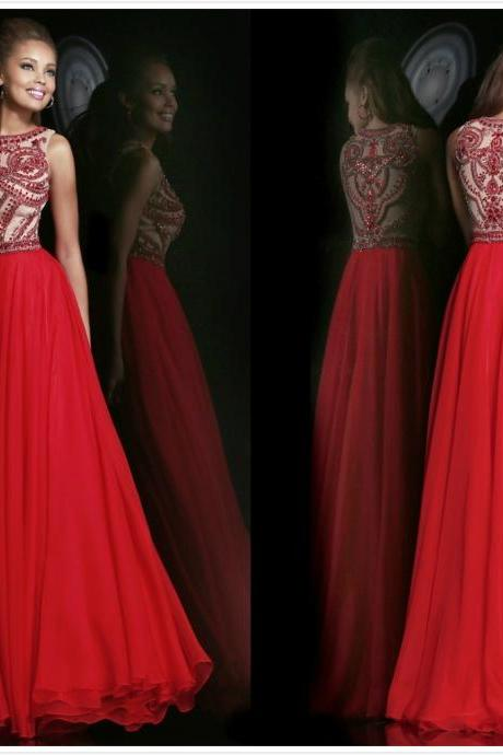 Elegant Beaded High Neck Red Chiffon Long Formal Evening Dresses Prom Party Gowns 2017 Hot Sale
