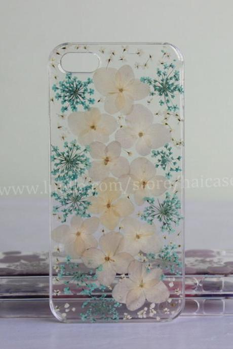 White and Blue Pressed Flower iphone 6 case Real Flower iphone 6 plus case iphone 5s case iphone 5 case iphone 5c case iphone 4s 4 case