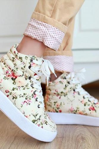 Awesome Floral Canvas Boots Sneakers Shoes