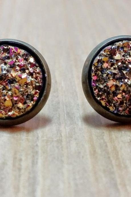 Red-Gold chunky Druzy style studs