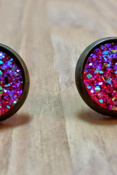 Hot pink Druzy style studs