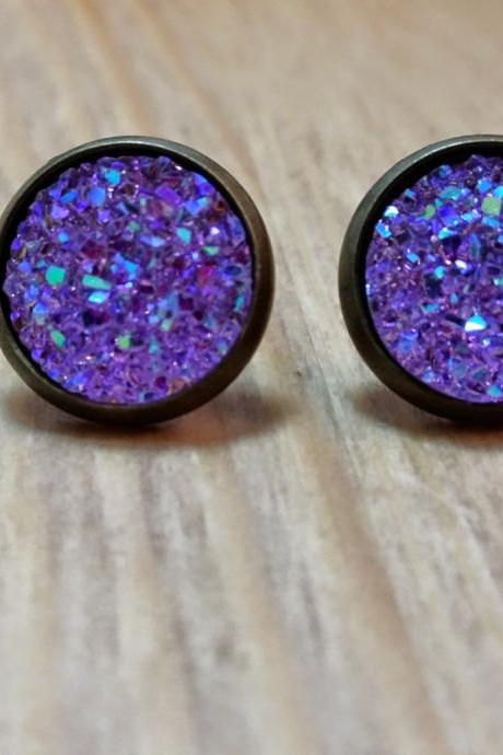 Lavender Druzy style studs