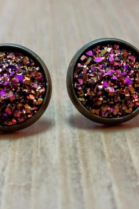 Pink-Gold chunky Druzy style studs