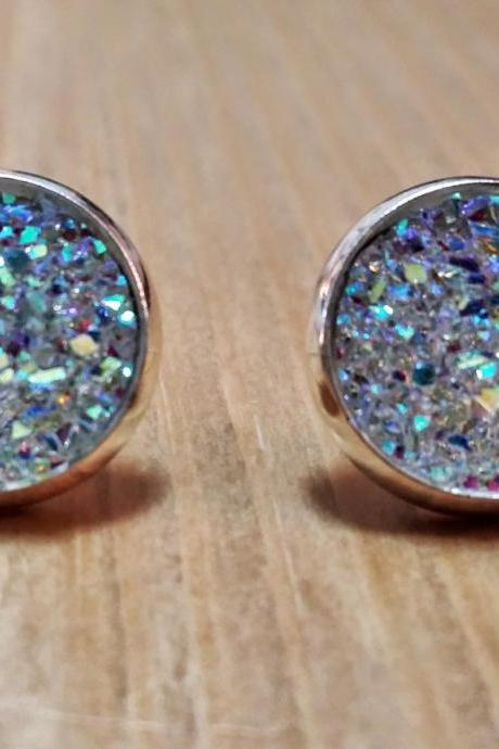 Iridescent Clear Druzy style studs